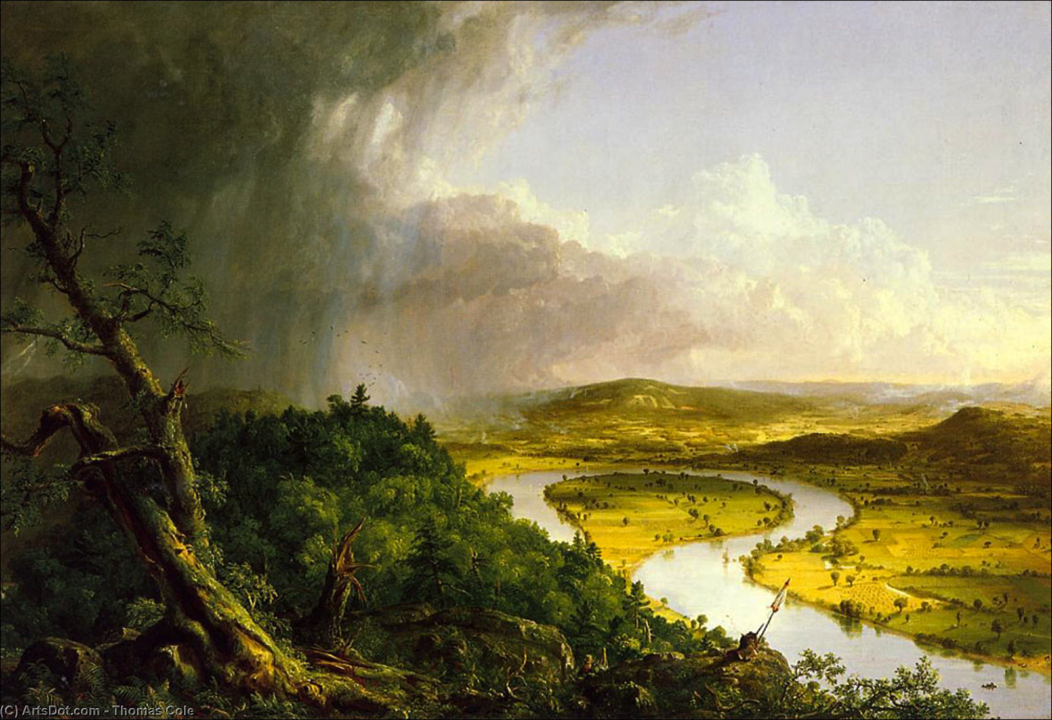 A Oxbow, Petróleo por Thomas Cole (1801-1848, United Kingdom)