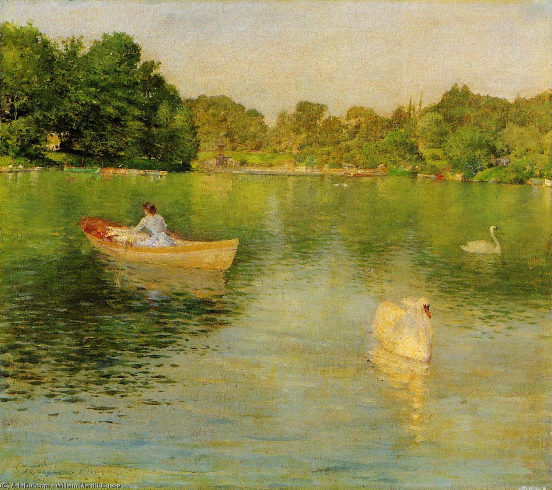 à lago central parque , óleo sobre painel por William Merritt Chase (1849-1916, United States)