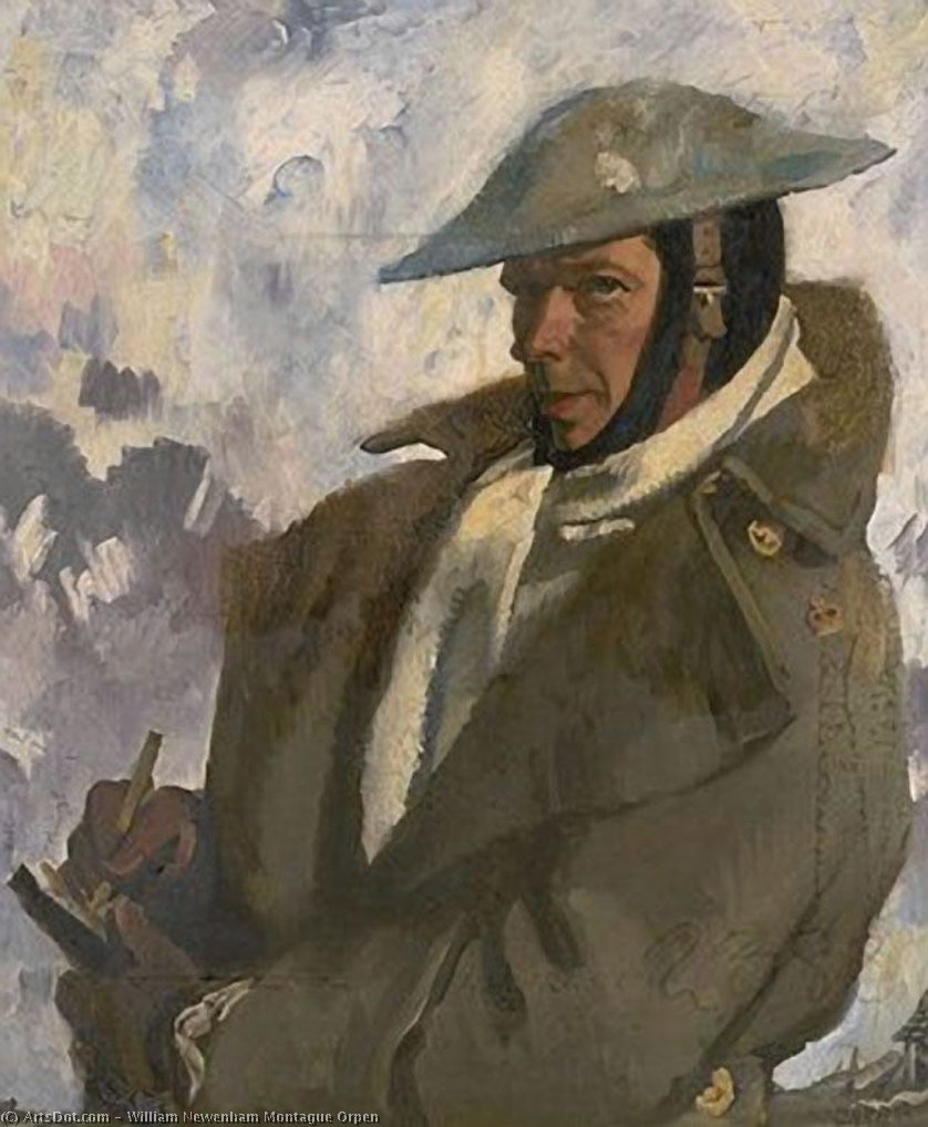 auto retrato em farda , 1917 por William Newenham Montague Orpen (1878-1931, Ireland)
