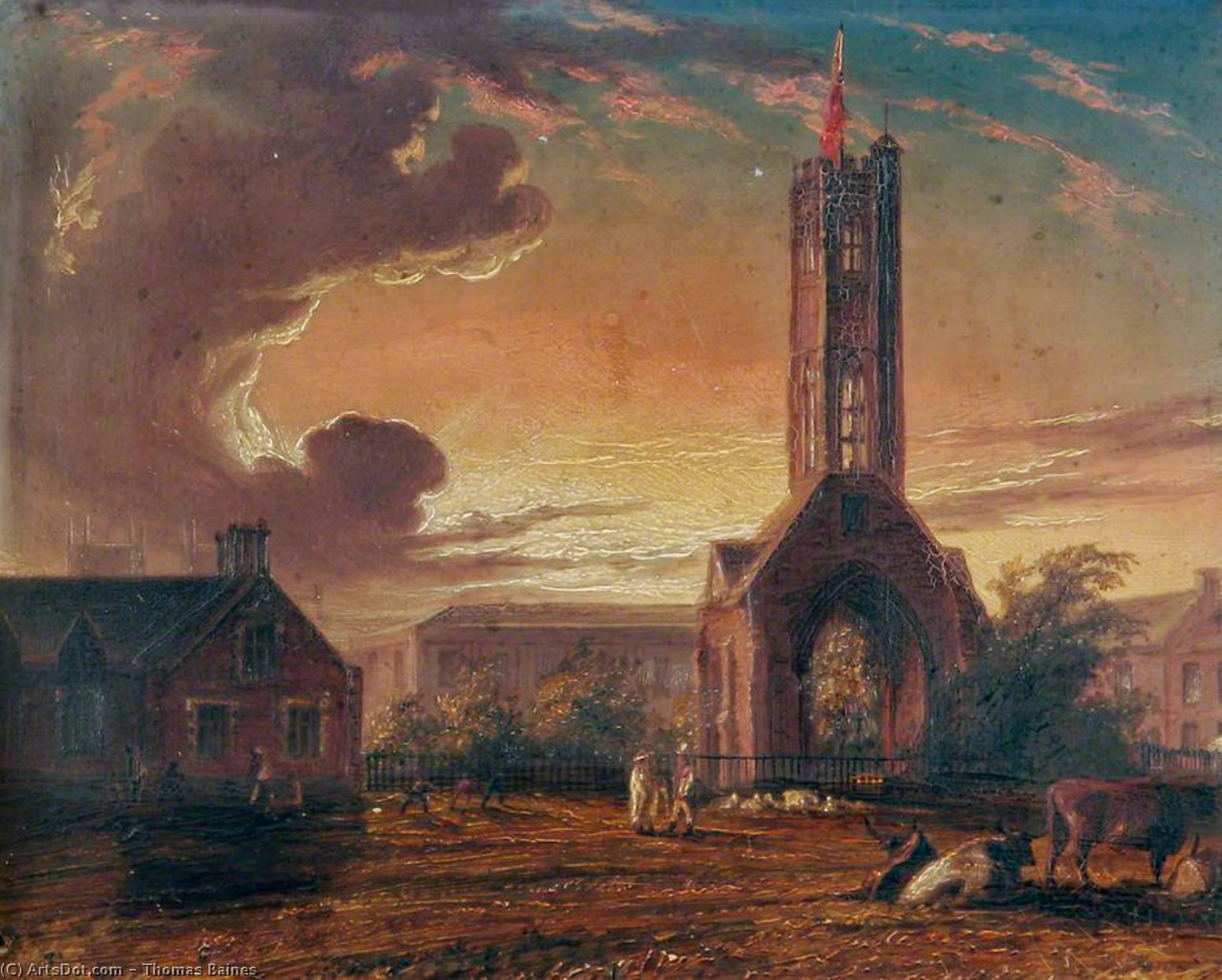 Greyfriars Torre , Norfolk - por Thomas Baines (1820-1875, United Kingdom)