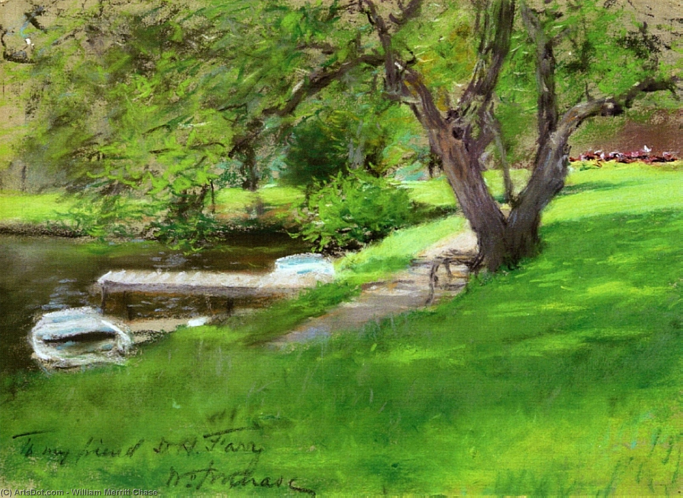 banco de um lago em central parque, Pastel por William Merritt Chase (1849-1916, United States)