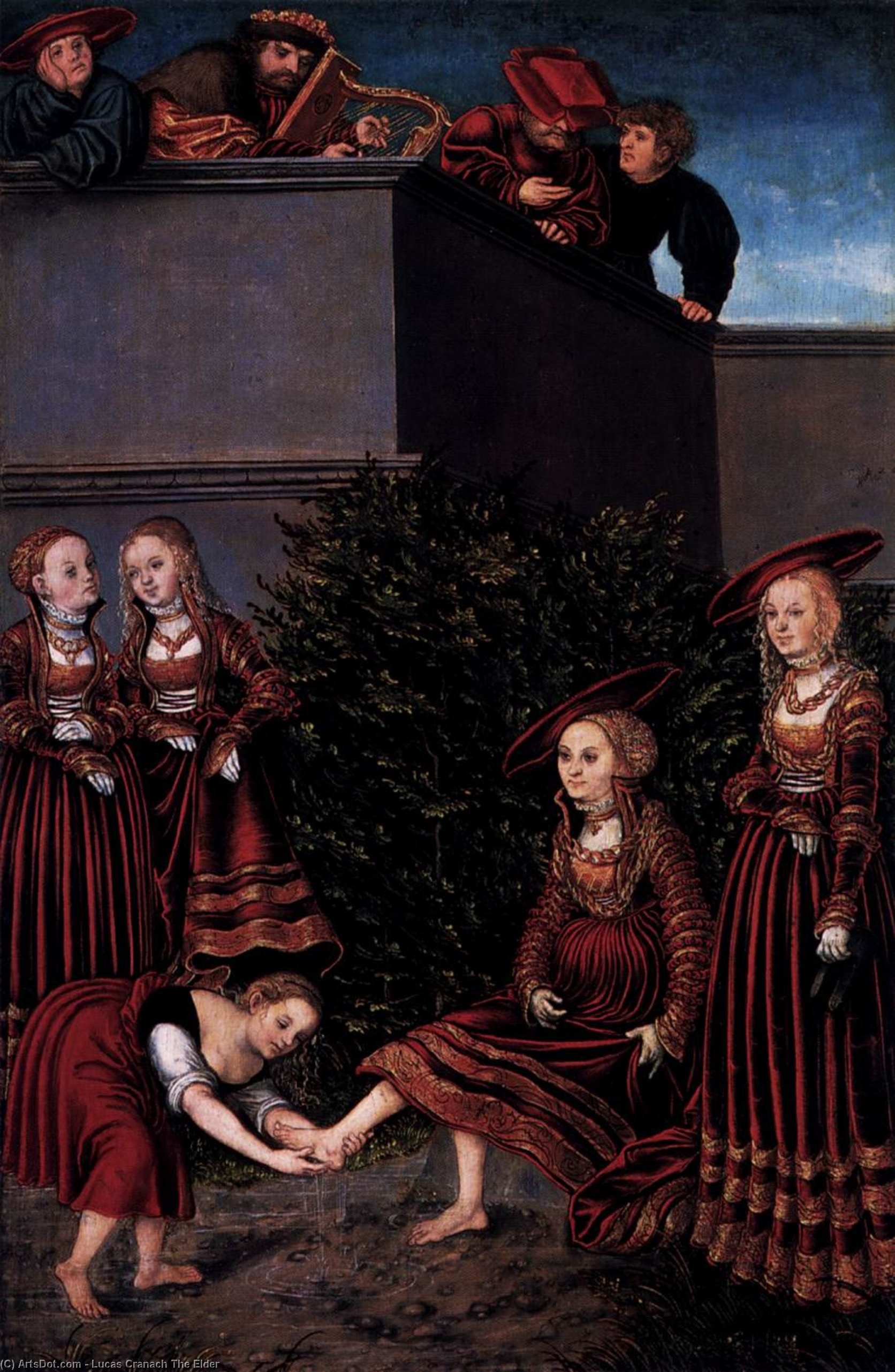david e bathsheba, óleo sobre painel por Lucas Cranach The Elder (1472-1553, Germany)