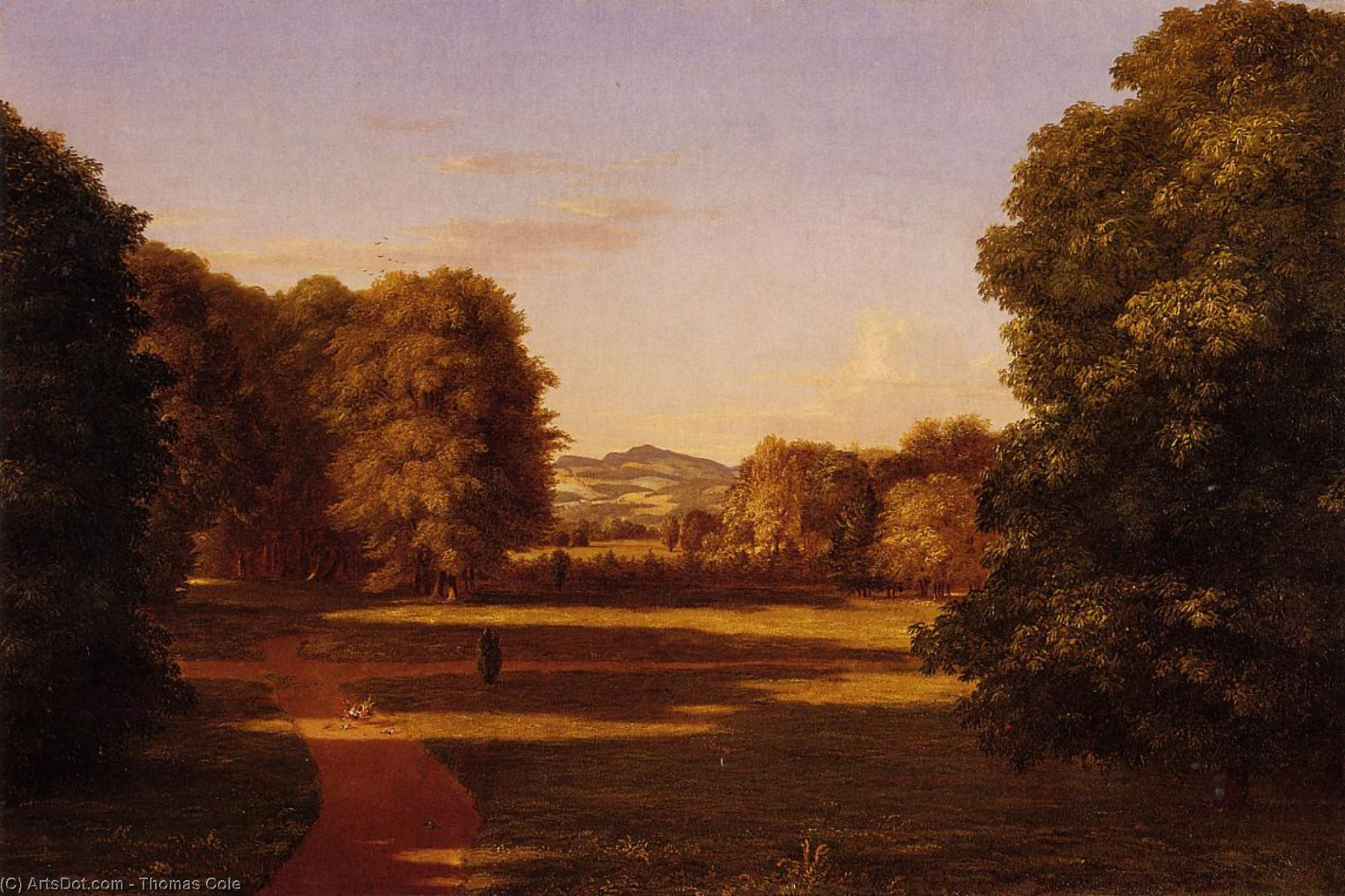 Os Jardins da Van Rensselaer Manor House, óleo sobre tela por Thomas Cole (1801-1848, United Kingdom)