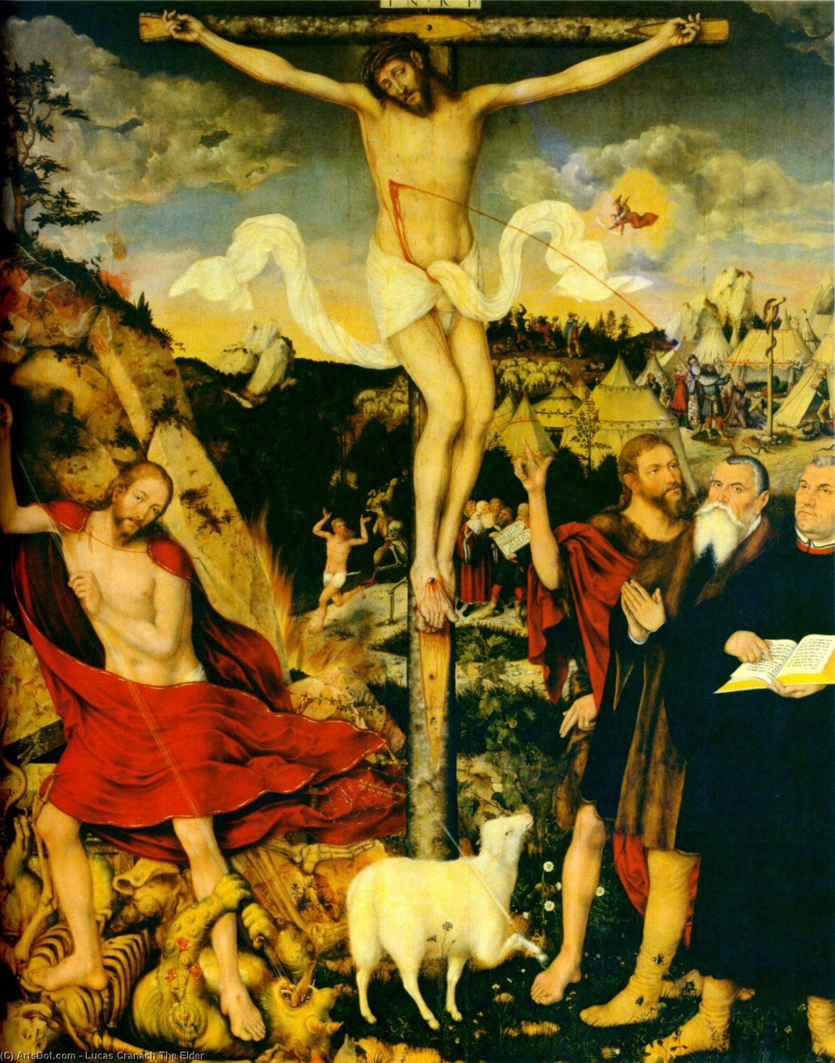 Cristo como Salvador com Martin Luther, 1552 por Lucas Cranach The Elder (1472-1553, Germany)