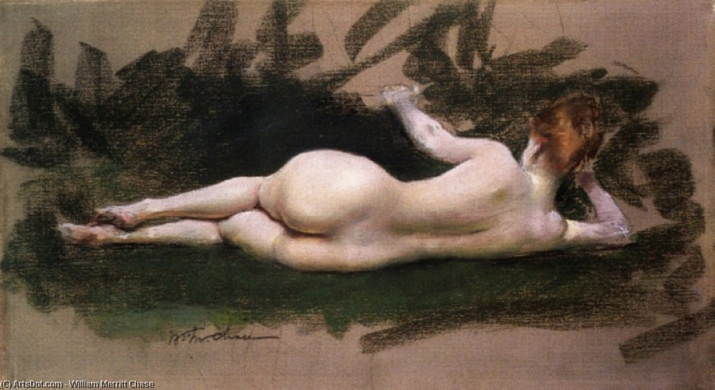 nu reclinado, Pastel por William Merritt Chase (1849-1916, United States)