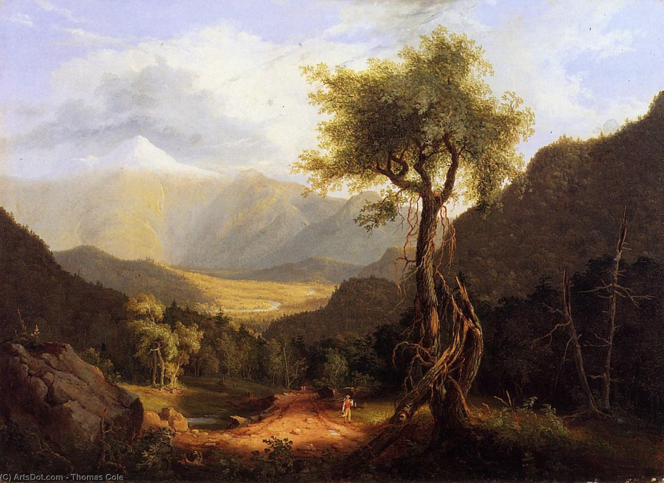 vista no branco montanhas i, Petróleo por Thomas Cole (1801-1848, United Kingdom)