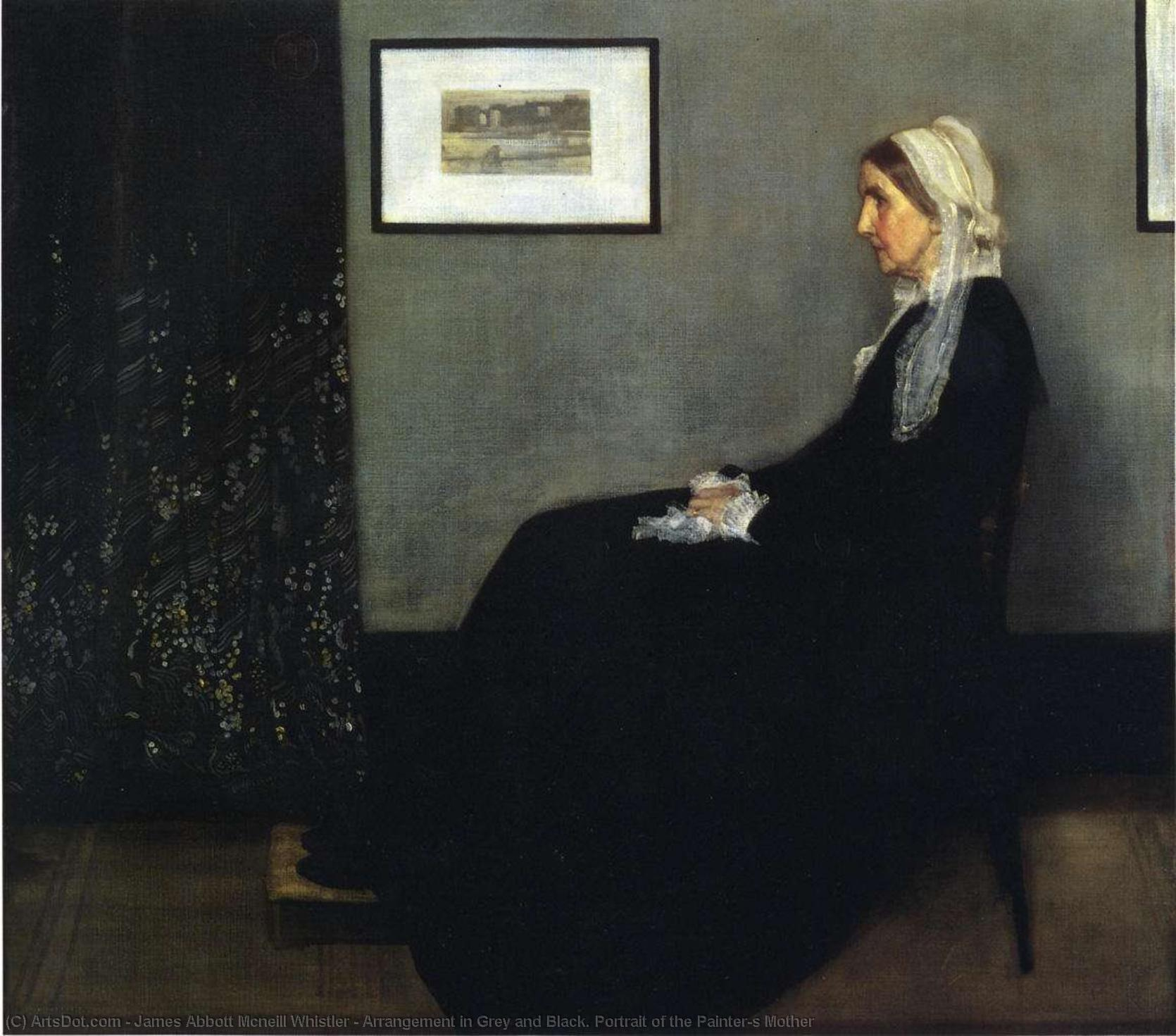 arranjo em cinzento e preto . Retrato do Painter`s Mãe, 1871 por James Abbott Mcneill Whistler (1834-1903, United States) | Cópias Da Arte Na Tela | ArtsDot.com