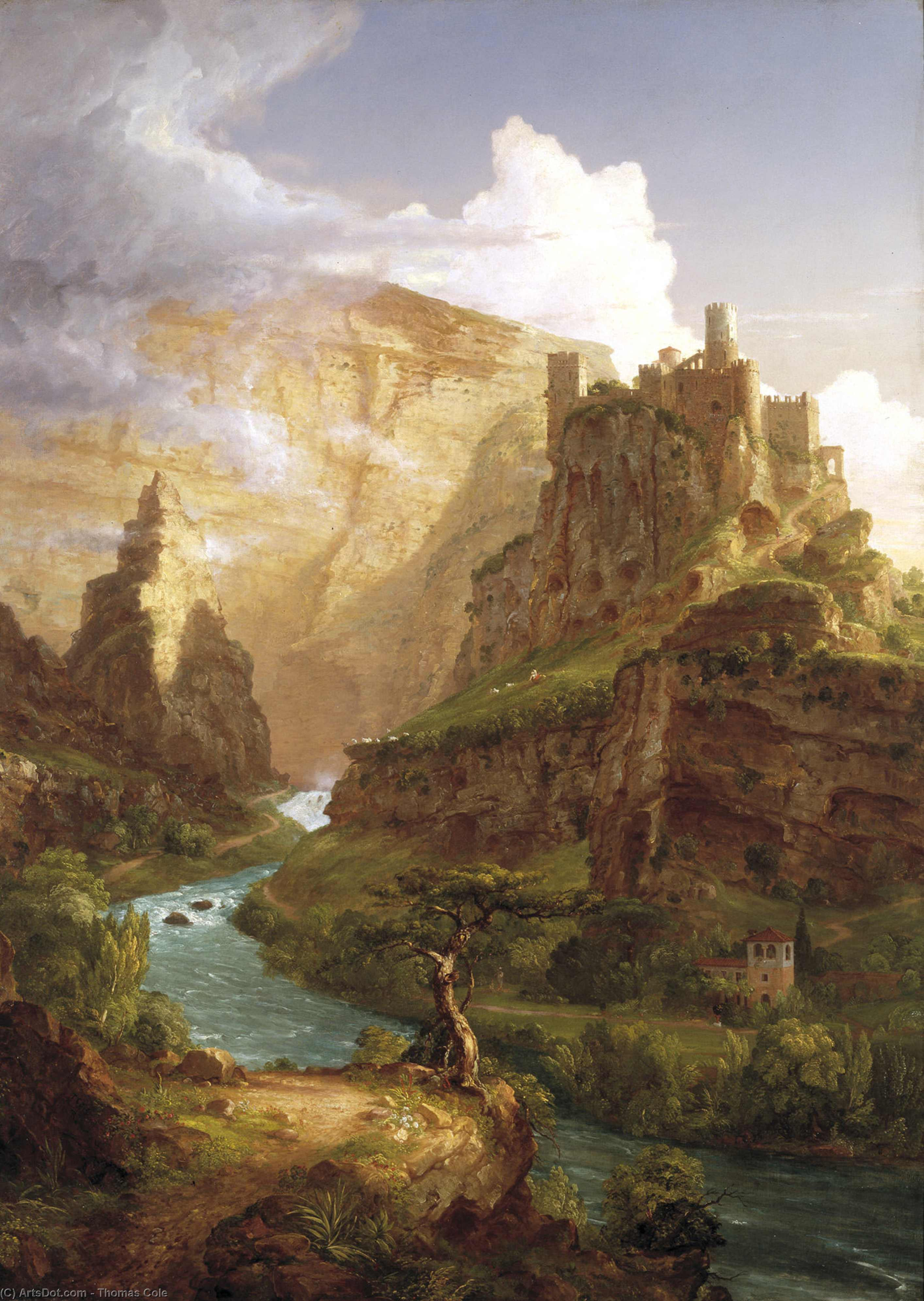 o fonte de vaucluse, 1841 por Thomas Cole (1801-1848, United Kingdom)