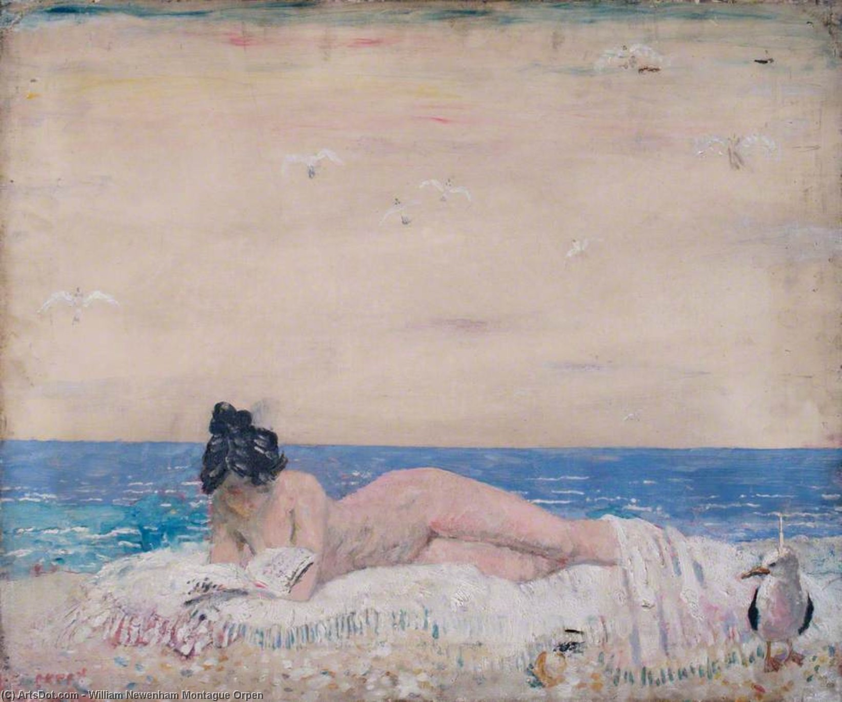 fêmea nua modelo  leitura  sobre  o  beira mar  por William Newenham Montague Orpen (1878-1931, Ireland)
