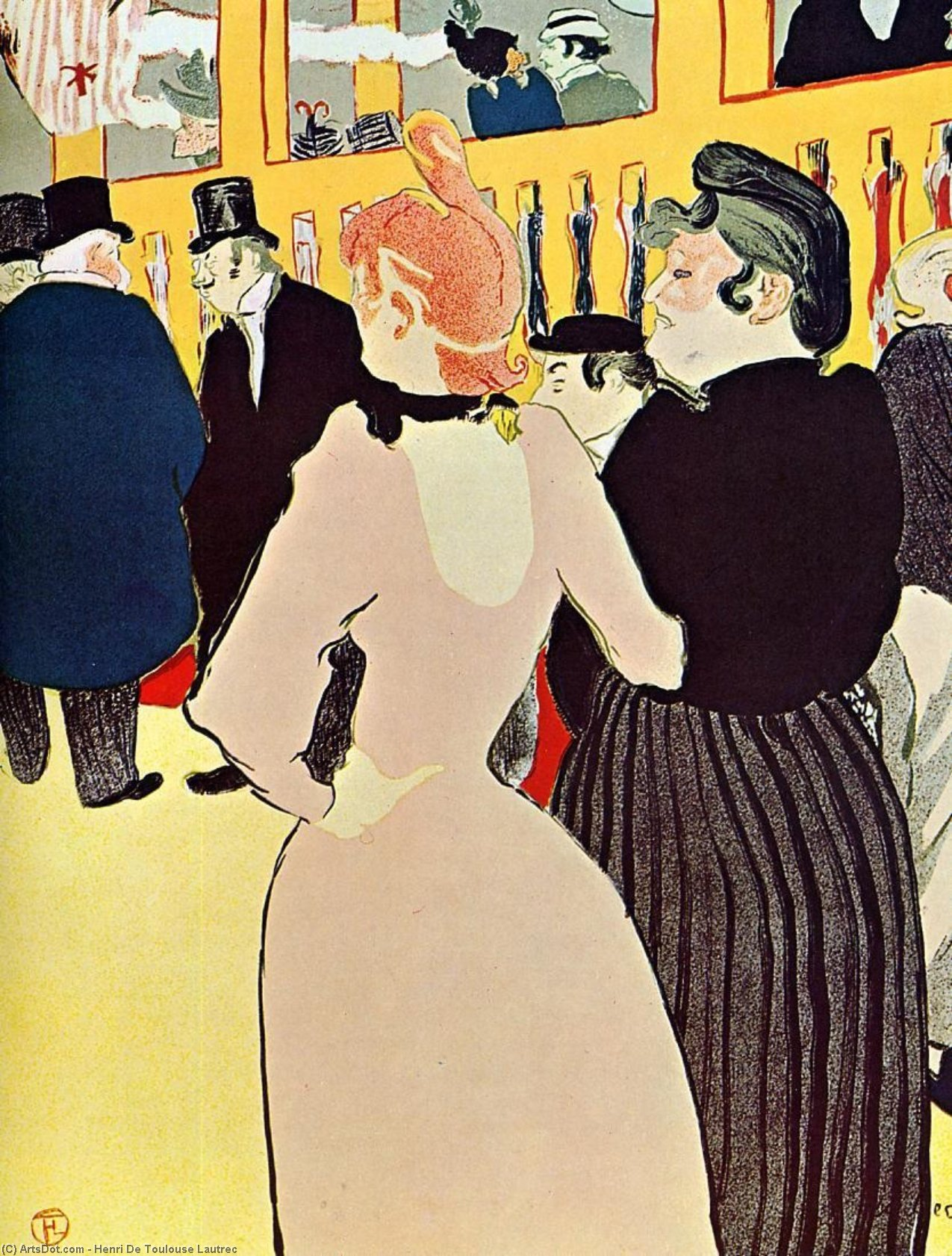 No moulin rouge - la goulue com ela Irmã por Henri De Toulouse Lautrec (1864-1901, France)