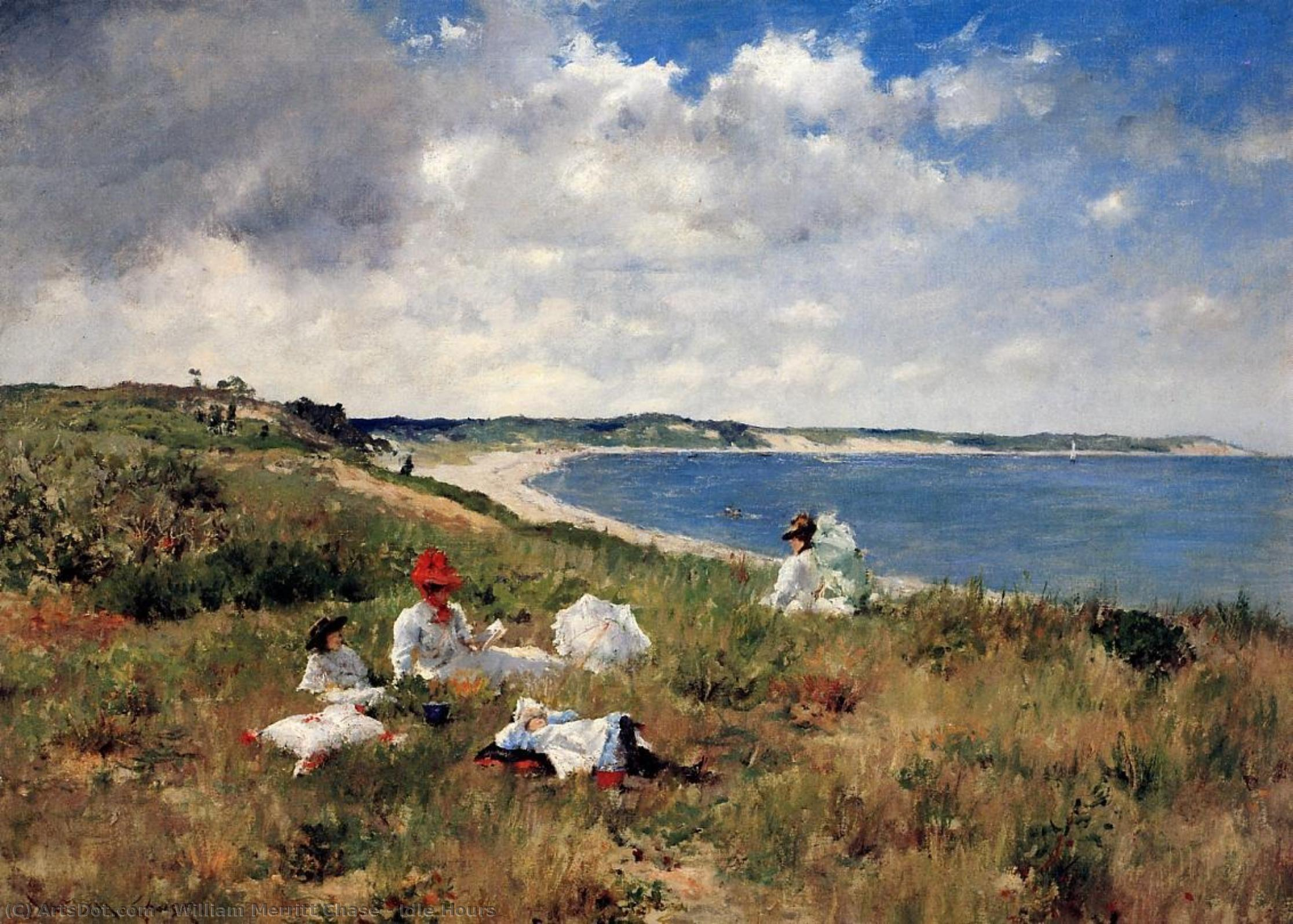 horas ociosas, 1894 por William Merritt Chase (1849-1916, United States) | Gravura De Qualidade De Museu William Merritt Chase | ArtsDot.com