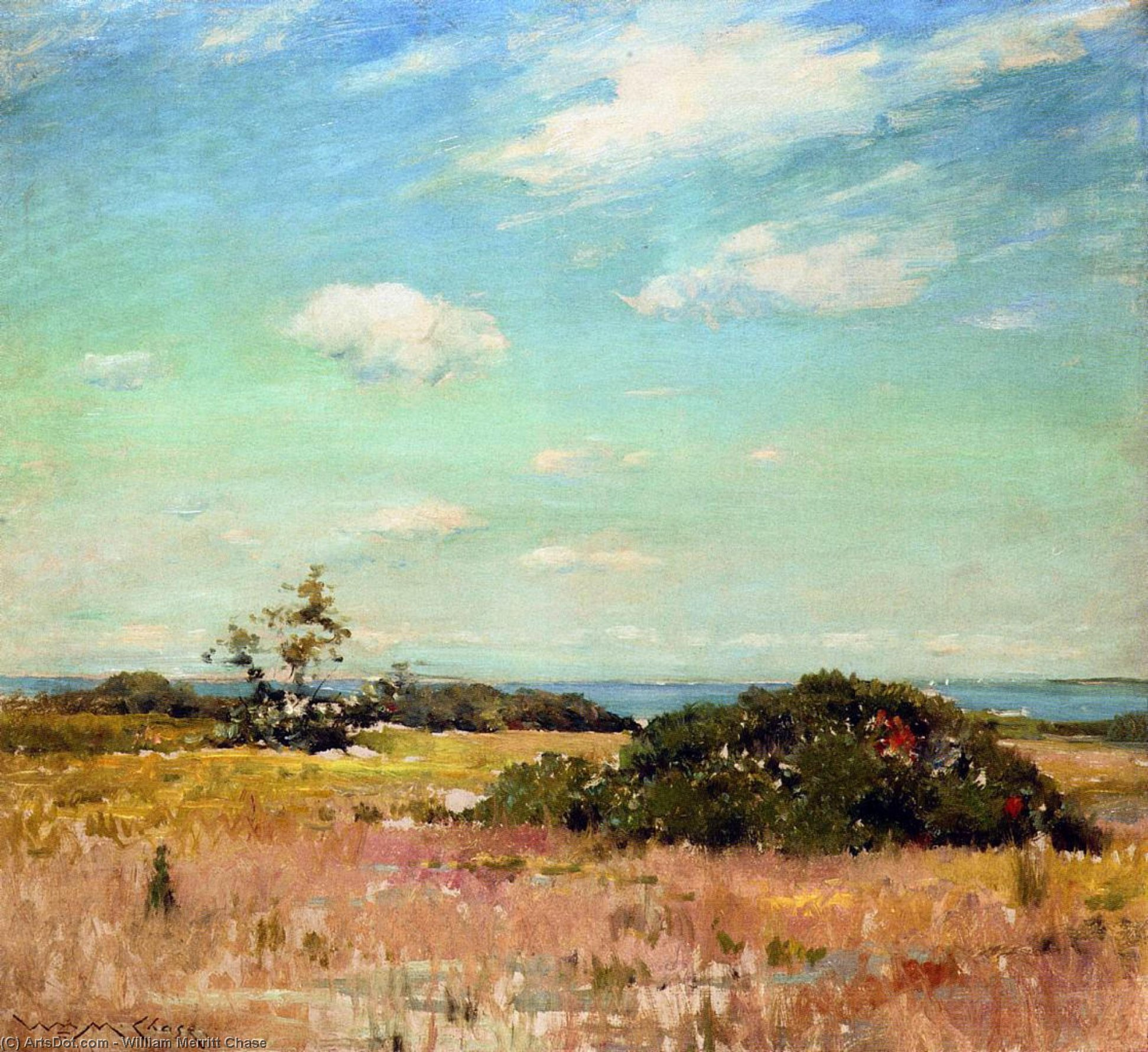 Shinnecock Colinas , ilha comprida, Petróleo por William Merritt Chase (1849-1916, United States)