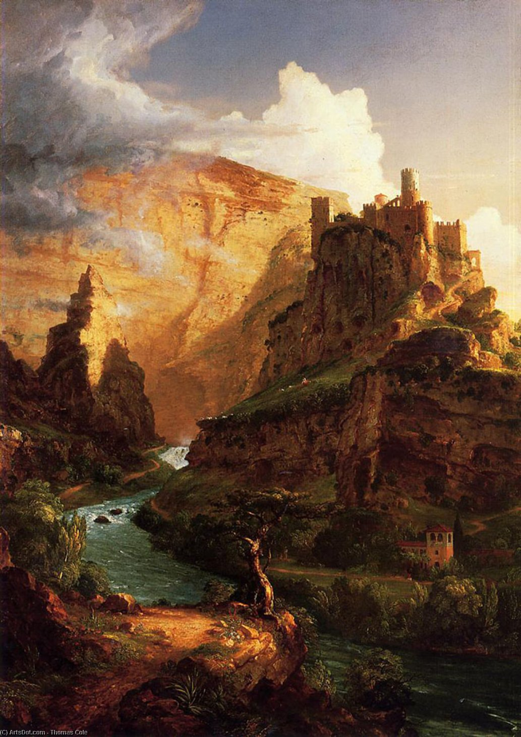Vale do Vaucluse, óleo sobre tela por Thomas Cole (1801-1848, United Kingdom)