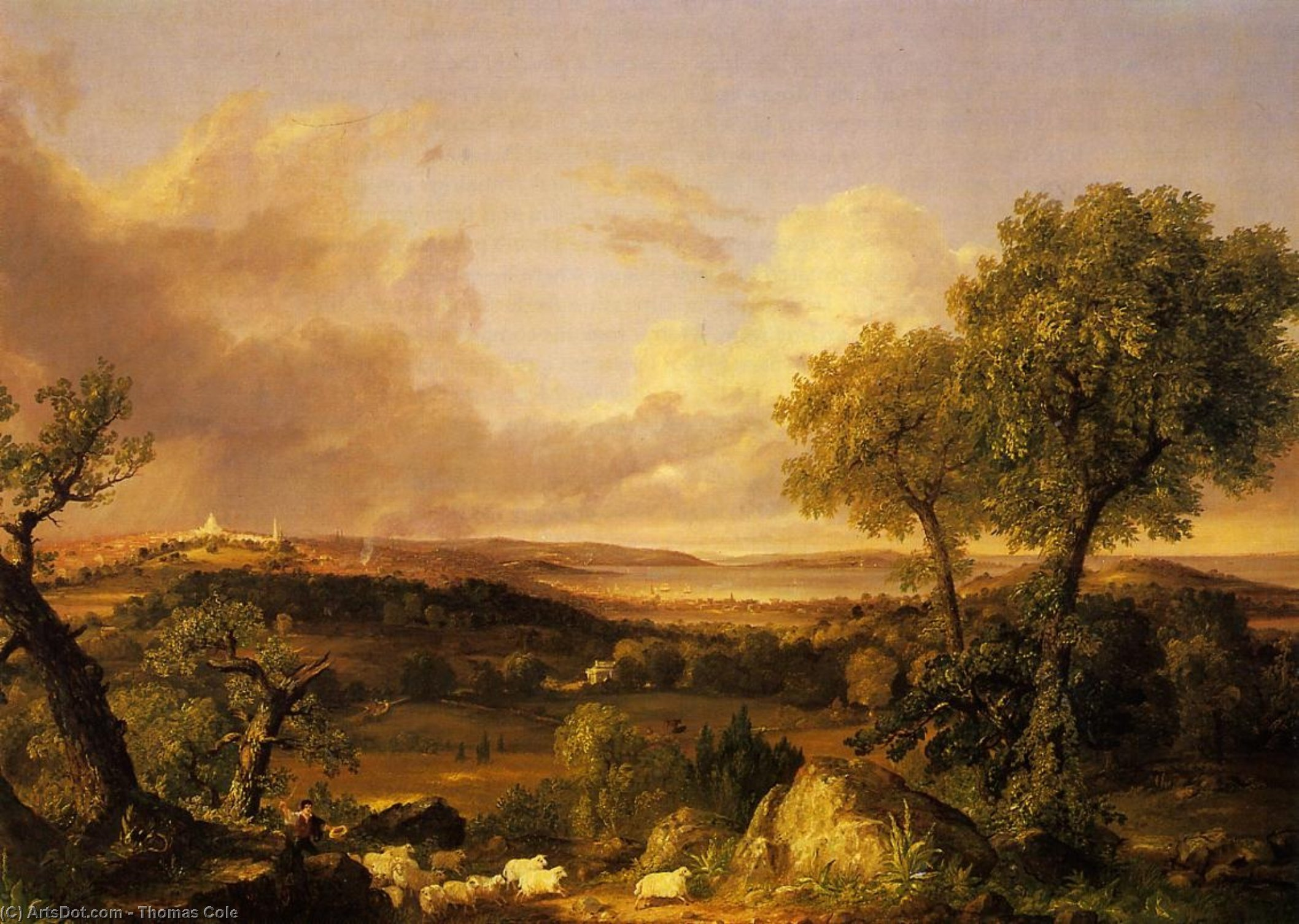 Vista de de Boston , óleo sobre tela por Thomas Cole (1801-1848, England)