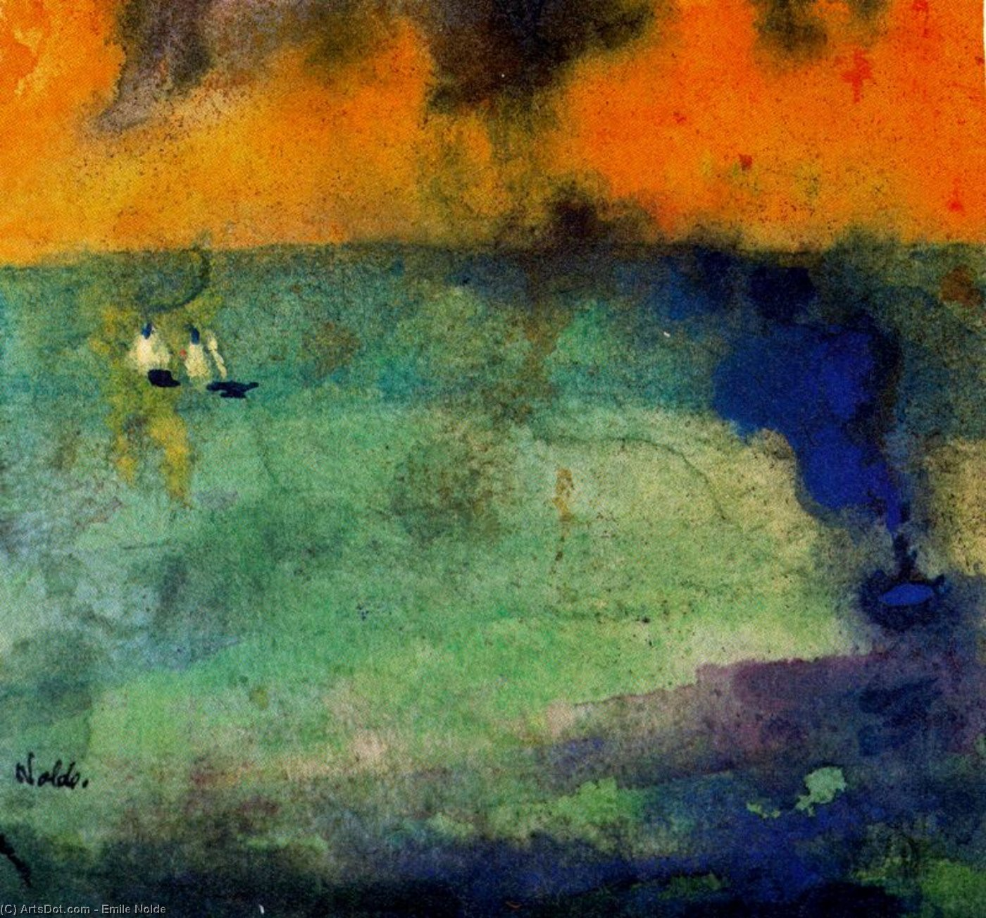 Light-flooded Mar ( Verde ) por Emile Nolde (1867-1956, Germany)