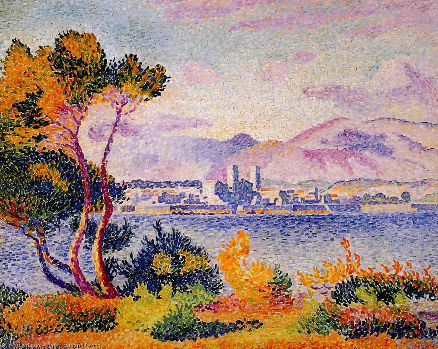 Antibes , Tarde por Henri Edmond Cross (1856-1910, France)