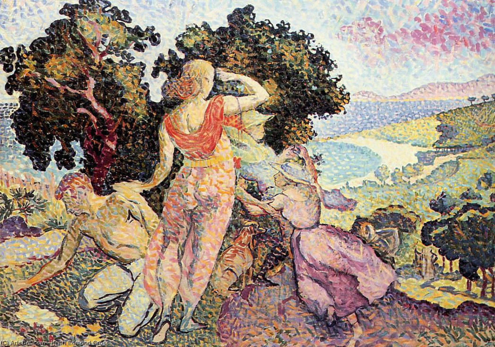 Estudo para Excuirsion, óleo sobre tela por Henri Edmond Cross (1856-1910, France)