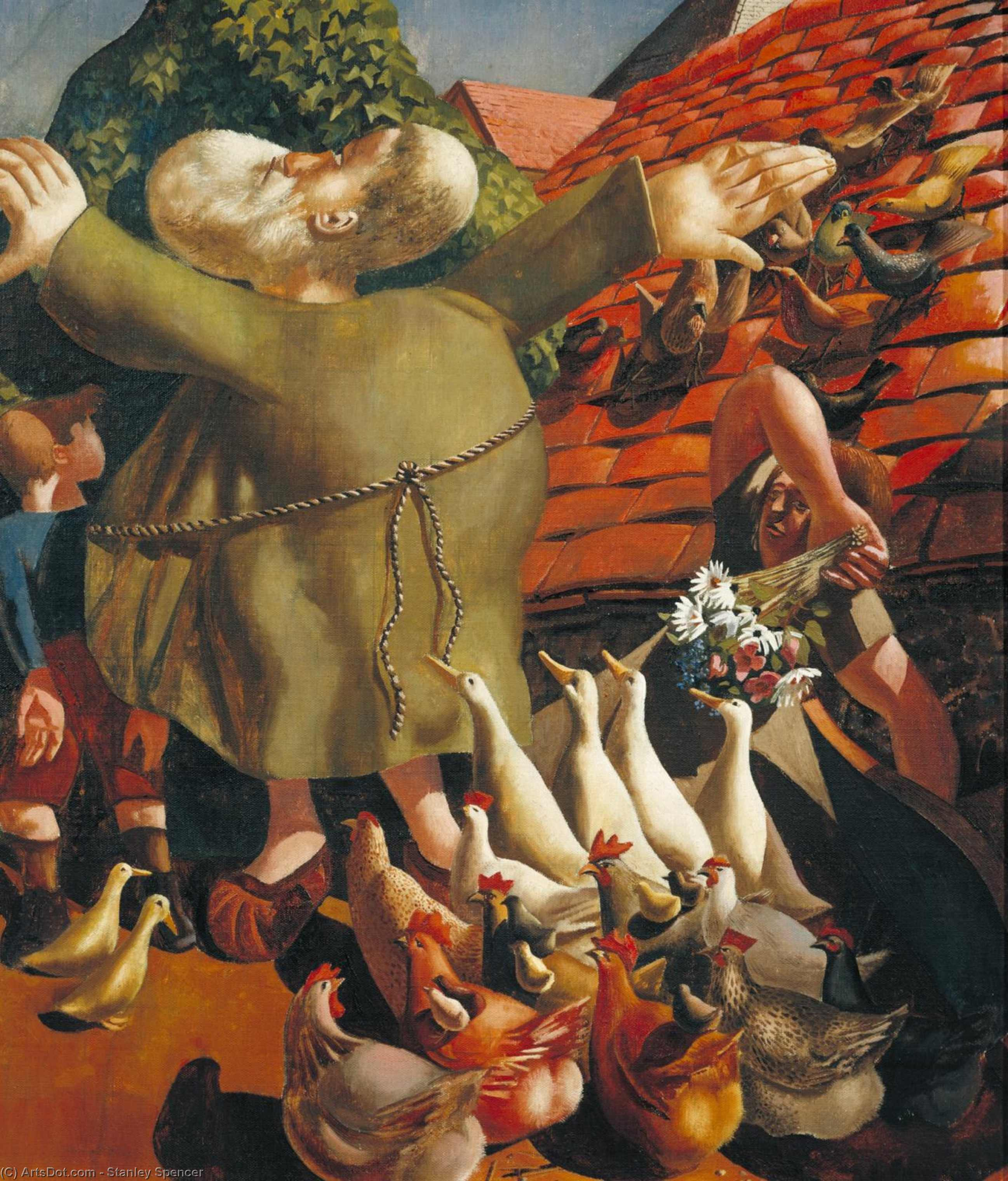 são francisco e o aves por Stanley Spencer (1891-1959, United Kingdom)