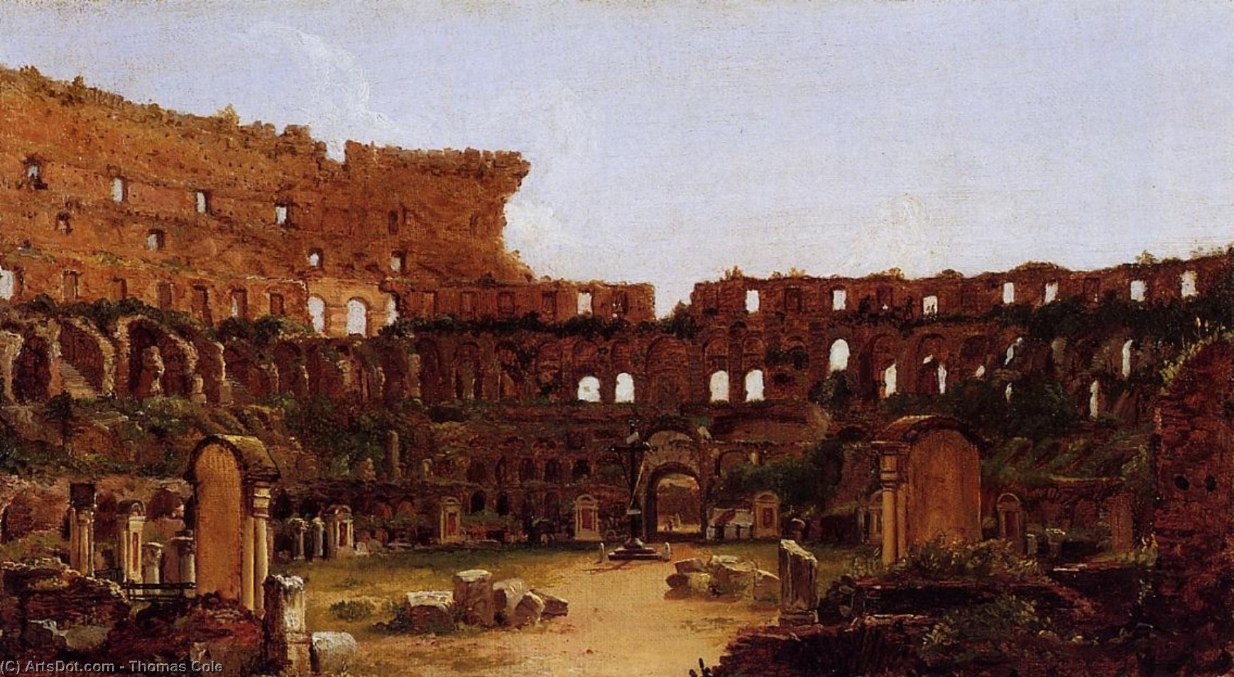 interior do coliseu  em Roma , óleo sobre tela por Thomas Cole (1801-1848, United Kingdom)