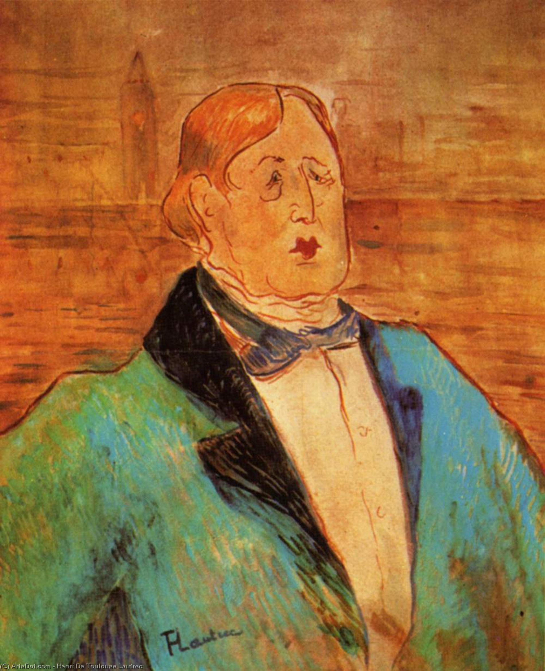 Portrait of Oscar Wilde, 1895 por Henri De Toulouse Lautrec (1864-1901, France)