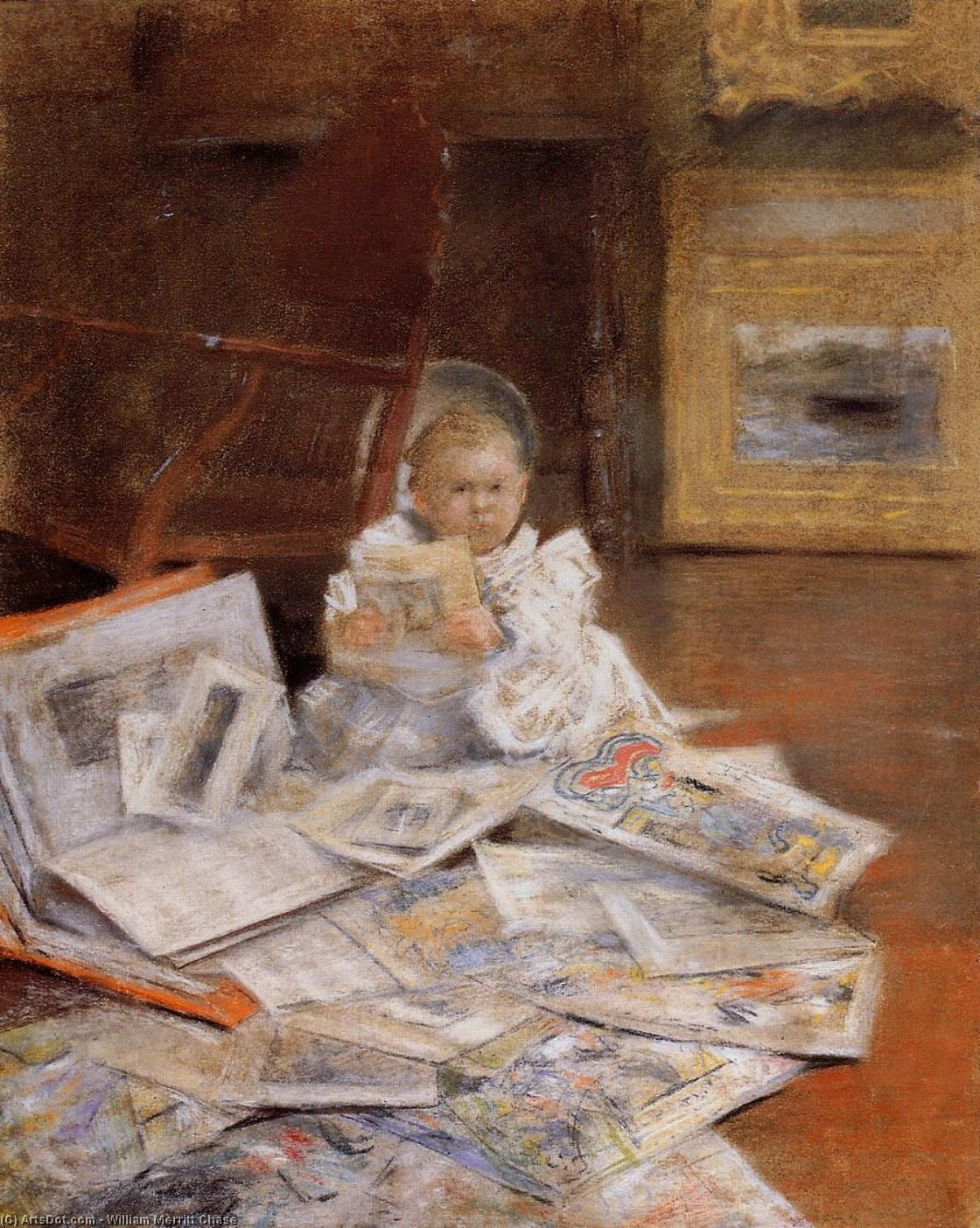 Criança com Prints, Pastel por William Merritt Chase (1849-1916, United States)