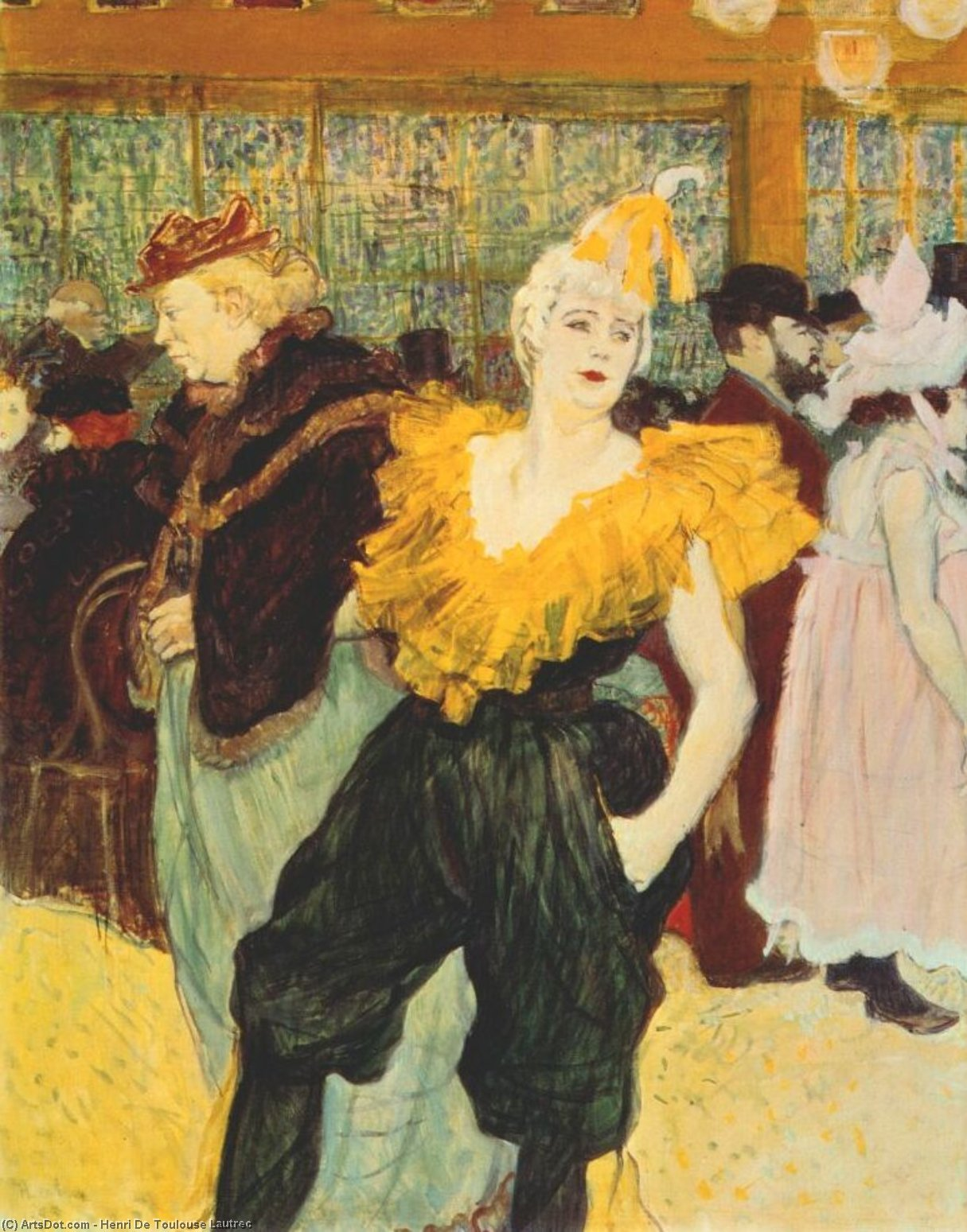 o clownesse cha-u-kao no moulin rouge, 1895 por Henri De Toulouse Lautrec (1864-1901, France)