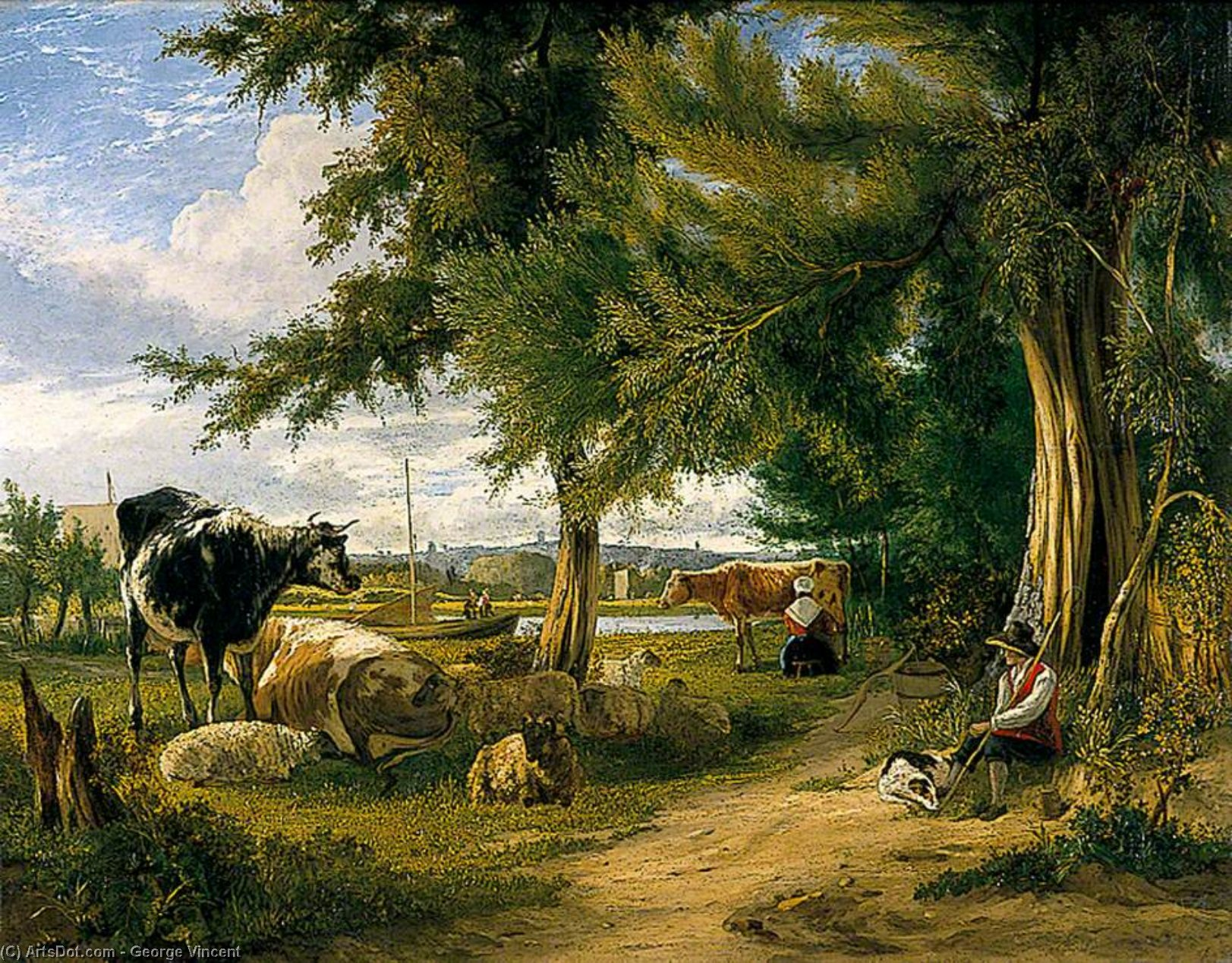 Cena pastoral por George Vincent (1796-1831, United Kingdom)