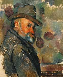 Paul Cezanne - Self-Portrait com chapéu ..