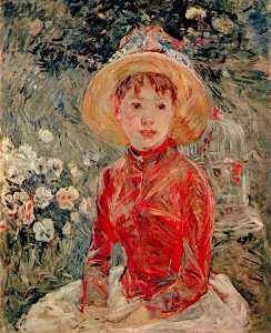 Berthe Morisot - a red jacket . mlle isabe..