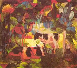 August Macke - paisagem com vacas e came..