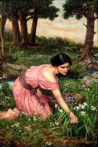John William Waterhouse - Salte os spreads  um  Verde  bater  dos  flores