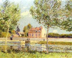 Alfred Sisley - Casas às margens do Loing