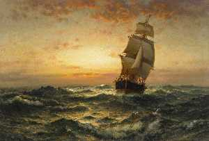 Edward Moran - navio na mar do sol