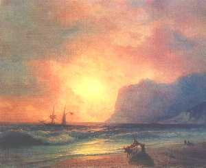 Ivan Aivazovsky - o pôr do sol no mar