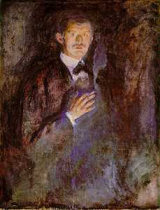 Edvard Munch - Self-Portrait com Ardente Cigarro ng oslo