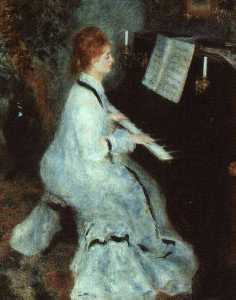 Pierre-Auguste Renoir - senhora no piano , instituto de arte de chicago