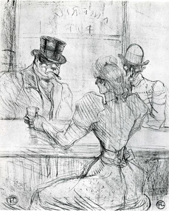No Bar Picton Arruda  escriba , 1896 por Henri De Toulouse Lautrec (1864-1901, France)