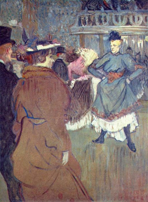 No Moulin Rouge , o início of o quadrille, Petróleo por Henri De Toulouse Lautrec (1864-1901, France)