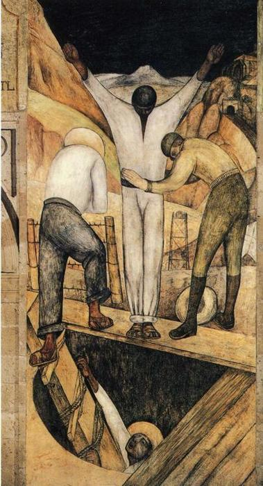 `exit` do meu, afrescos por Diego Rivera (1886-1957, Mexico)