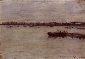 William Merritt Chase - docks reparação , Gowanus Cais