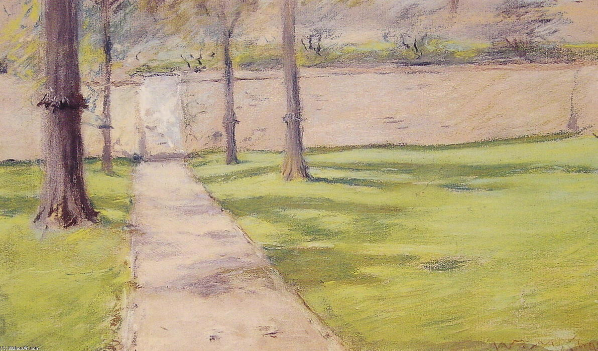 A parede do jardim, Pastel por William Merritt Chase (1849-1916, United States)