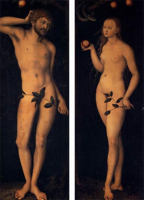 Adão e Eva, Petróleo por Lucas Cranach The Elder (1472-1553, Germany)