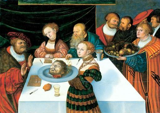 A festa de Herod, óleo por Lucas Cranach The Elder (1472-1553, Germany)