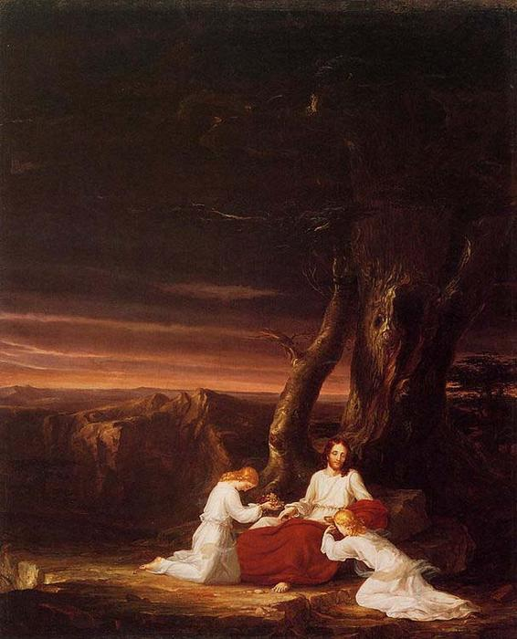 Anjos que ministram a Christ in the Wilderness, óleo sobre tela por Thomas Cole (1801-1848, United Kingdom)