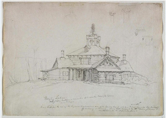 Hornby Lodge, tinta para aguarela por Thomas Cole (1801-1848, United Kingdom)