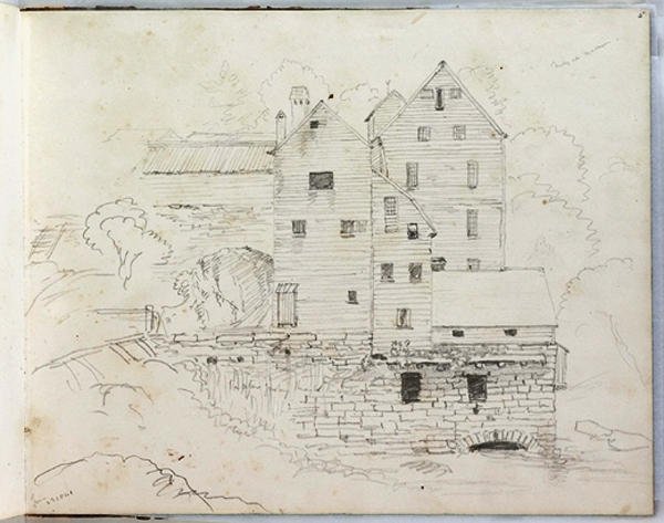 Mills em Madison, tinta para aguarela por Thomas Cole (1801-1848, United Kingdom)