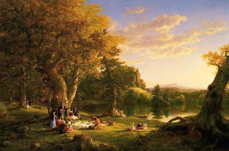 The Picnic, óleo sobre tela por Thomas Cole (1801-1848, United Kingdom)