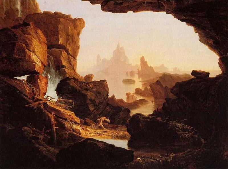 o Subsiding do Águas do Dilúvio, 1829 por Thomas Cole (1801-1848, United Kingdom)
