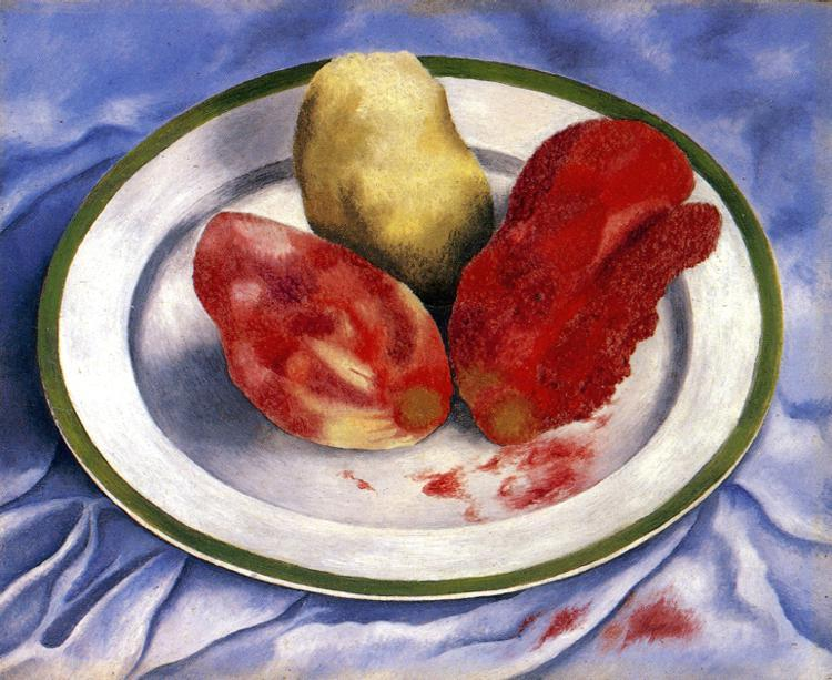 Tunas ( still life com prickly pear fruit ), Petróleo por Frida Kahlo (1907-1954, Mexico)