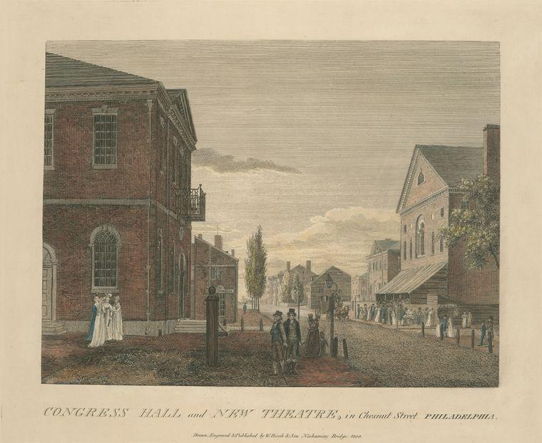 congress hall e new theatre , em chesnut street filadélfia, Petróleo por Thomas Birch (1779-1851, United Kingdom)
